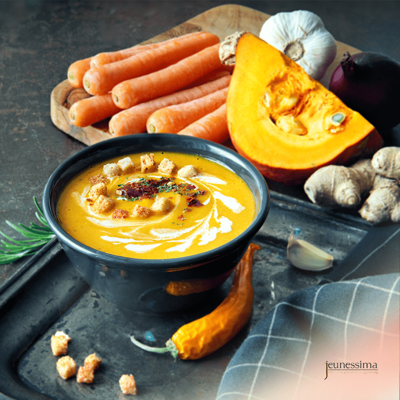 Pumpkin soup contains valuable nutrients for a healthier body and a more beautiful skin