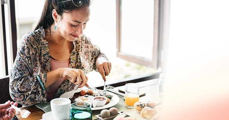 woman eating healthy food, not a diet