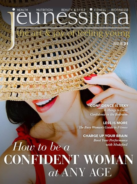 Cover of Jeunessima Magazine 21. Lifestyle magazine for busy women over 40 with tips for self confidence, health & prevention